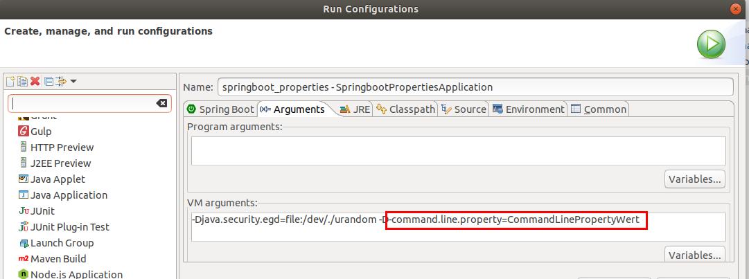 Übergabe eines Command line Parameters an eine Spring Boot Anwendung.