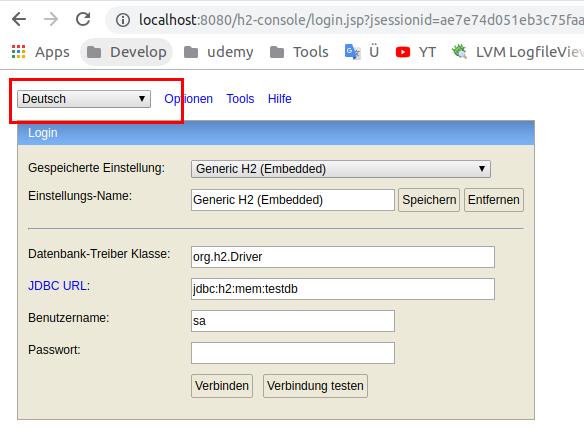 Anmeldung zu H2 SQL Datenbankkonsole in Spring Boot